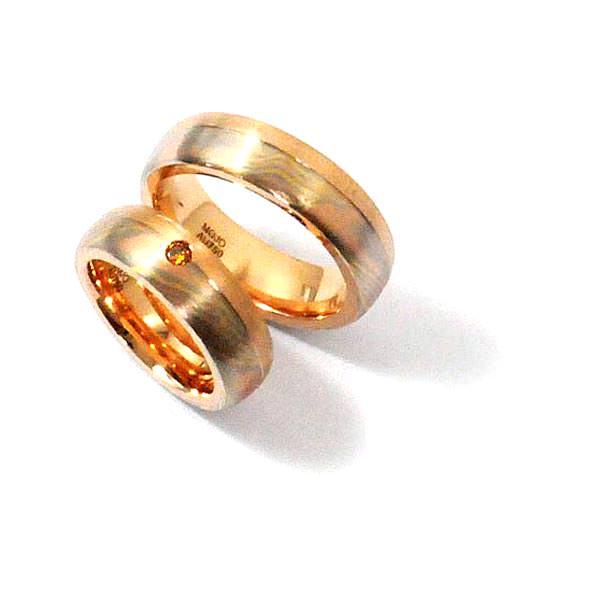 Eheringe Mokumegane Rotgold Gelbgold Weissgold Brillant (1007093)