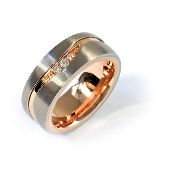 Verlobungsring Weissgold Rotgold Brillanten (1007472)