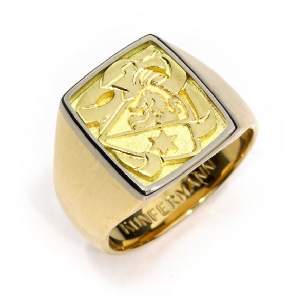 Wappenring Gelbgold Weissgold Flachgravur (1008901)