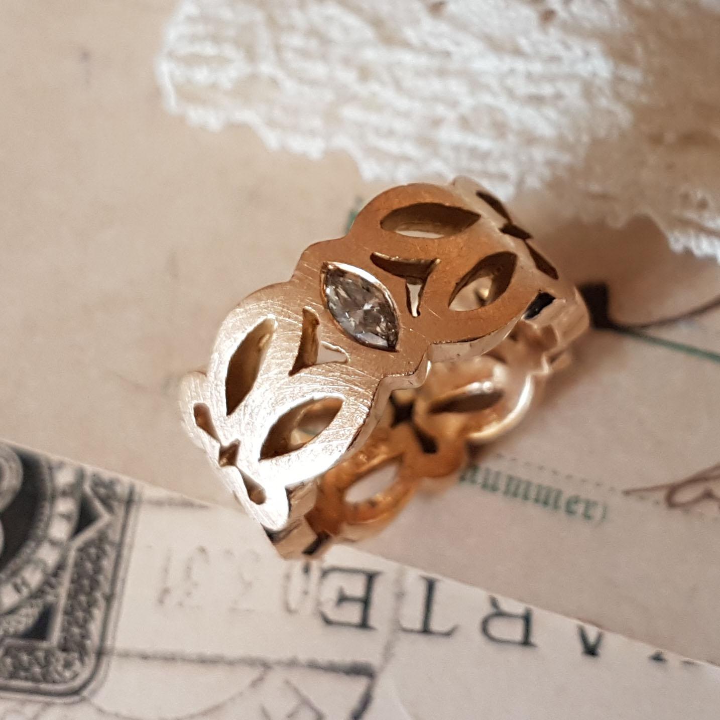 Ornamentringe Roségold Diamanten (250204, 250205)